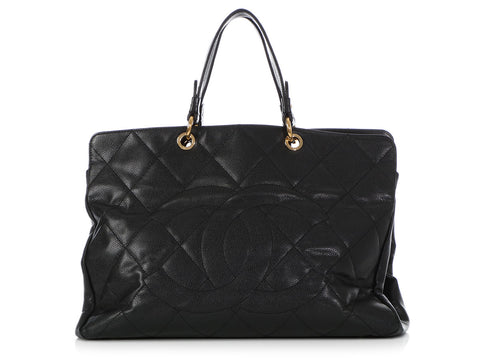 b0900d91d37 Chanel Large Black Quilted Caviar Shopping Tote