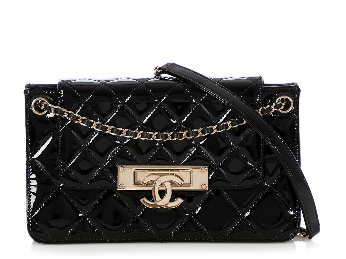 f1f03ef9982 Chanel Black Quilted Patent Flap