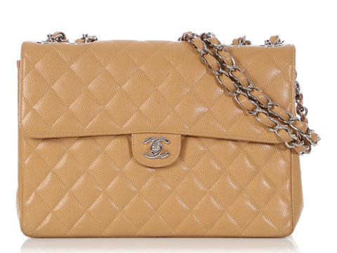 Chanel Vintage Beige Quilted Caviar Single Flap