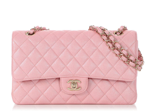 Chanel Medium/Large Iridescent Pink Quilted Caviar Classic Double Flap