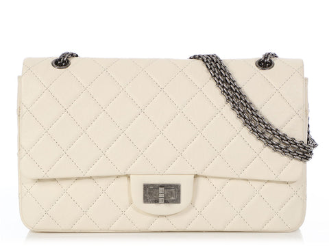 Chanel Jumbo Ecru Quilted Distressed Calfskin 227 Reissue Double Flap
