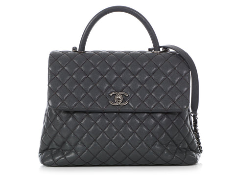 Chanel Large Gray Quilted Caviar Coco Handle