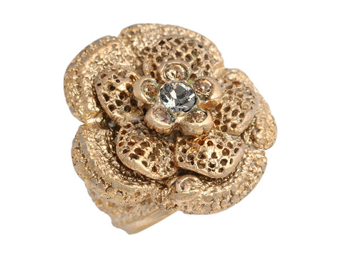 Chanel Large Gold-Tone Crystal Logo Flower Ring