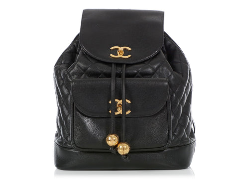 Chanel Vintage Large Black Quilted Caviar Backpack
