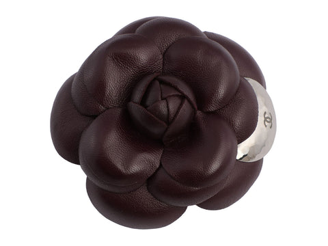 Chanel Prune Leather Camellia Pin