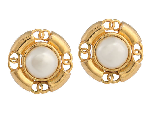 Chanel Vintage Pearl and Gold Tone Clip Earrings