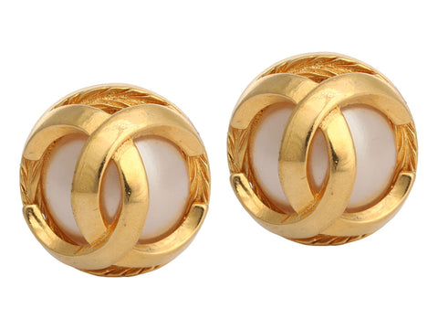Chanel Gold-Tone Faux Pearl Logo Clip Earrings