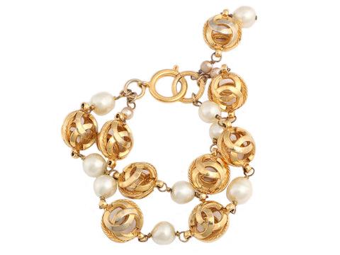 Chanel Vintage Gold Tone and Double Strand Pearl Logo Bracelet