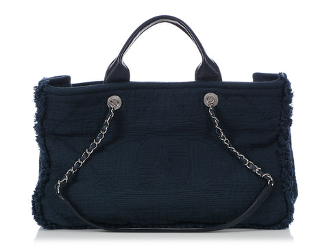 Chanel Double-Faced Navy Fabric Tote