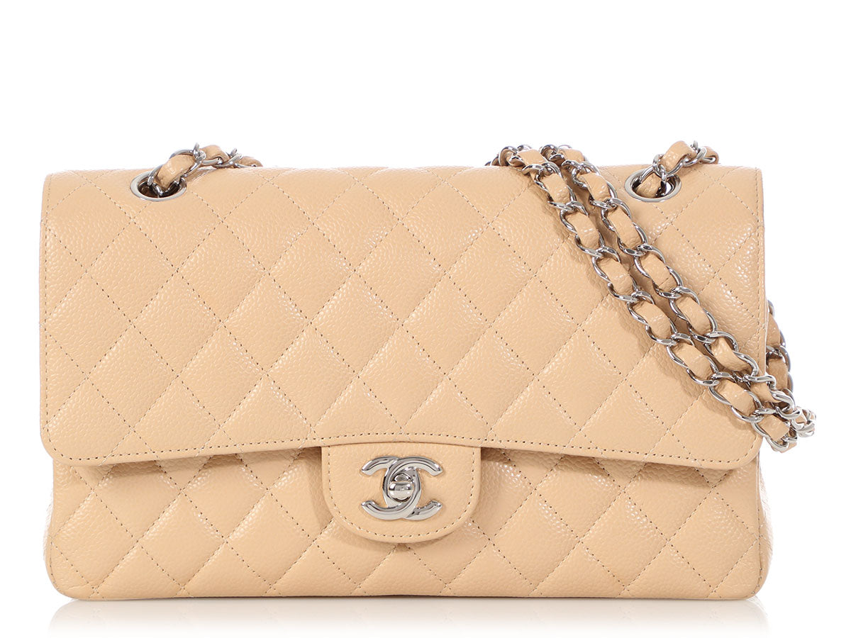 Chanel Medium/Large Beige Clair Caviar Classic Double Flap