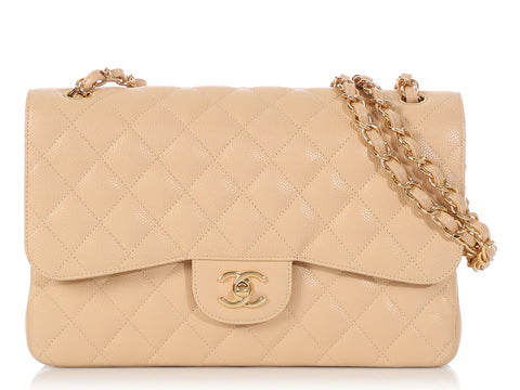 Chanel Jumbo Beige Clair Caviar Classic Double Flap