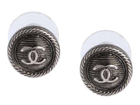 Chanel Small Button CC Earrings