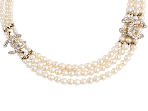Chanel Pearl and Crystal Logo Choker