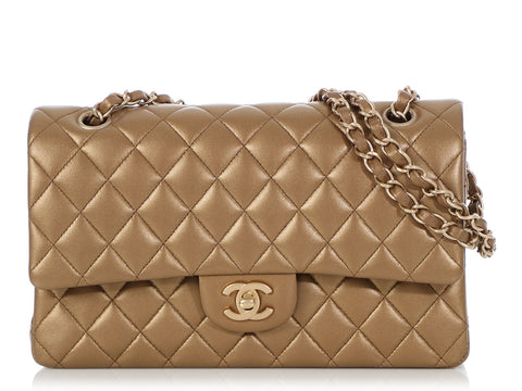 Chanel Medium/Large Matte Gold Quilted Lambskin Classic Double Flap