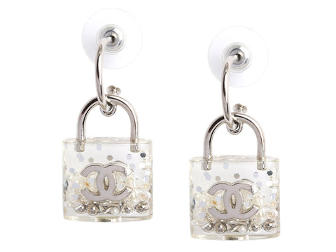 Chanel Crystal, Pearl, and Bead Logo Padlock Earrings
