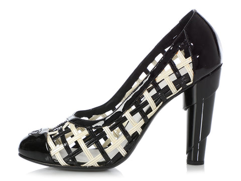 Chanel Black and White Woven Patent Pumps