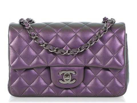 Chanel Mini Metallic Purple Quilted Calfskin Classic