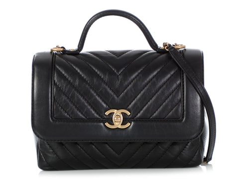 Chanel Black Chevron-Quilted Crossbody with Handle