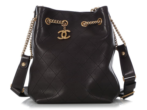 Chanel Black Quilted Calfskin Drawstring Shoulder Bag