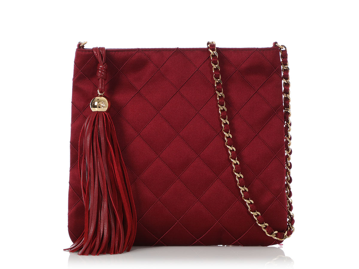 Chanel Vintage Burgundy Quilted Satin Crossbody