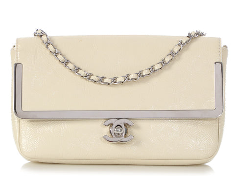 Chanel Cream Patent Framed Crossbody Bag
