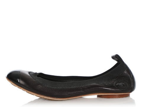 Chanel Black Cap Toe Ballet Flats