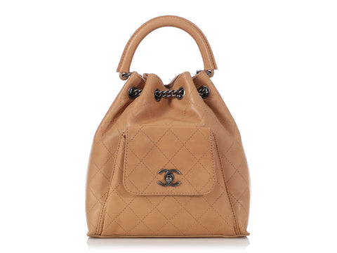 Chanel Tan Quilted Calfskin Drawstring Backpack