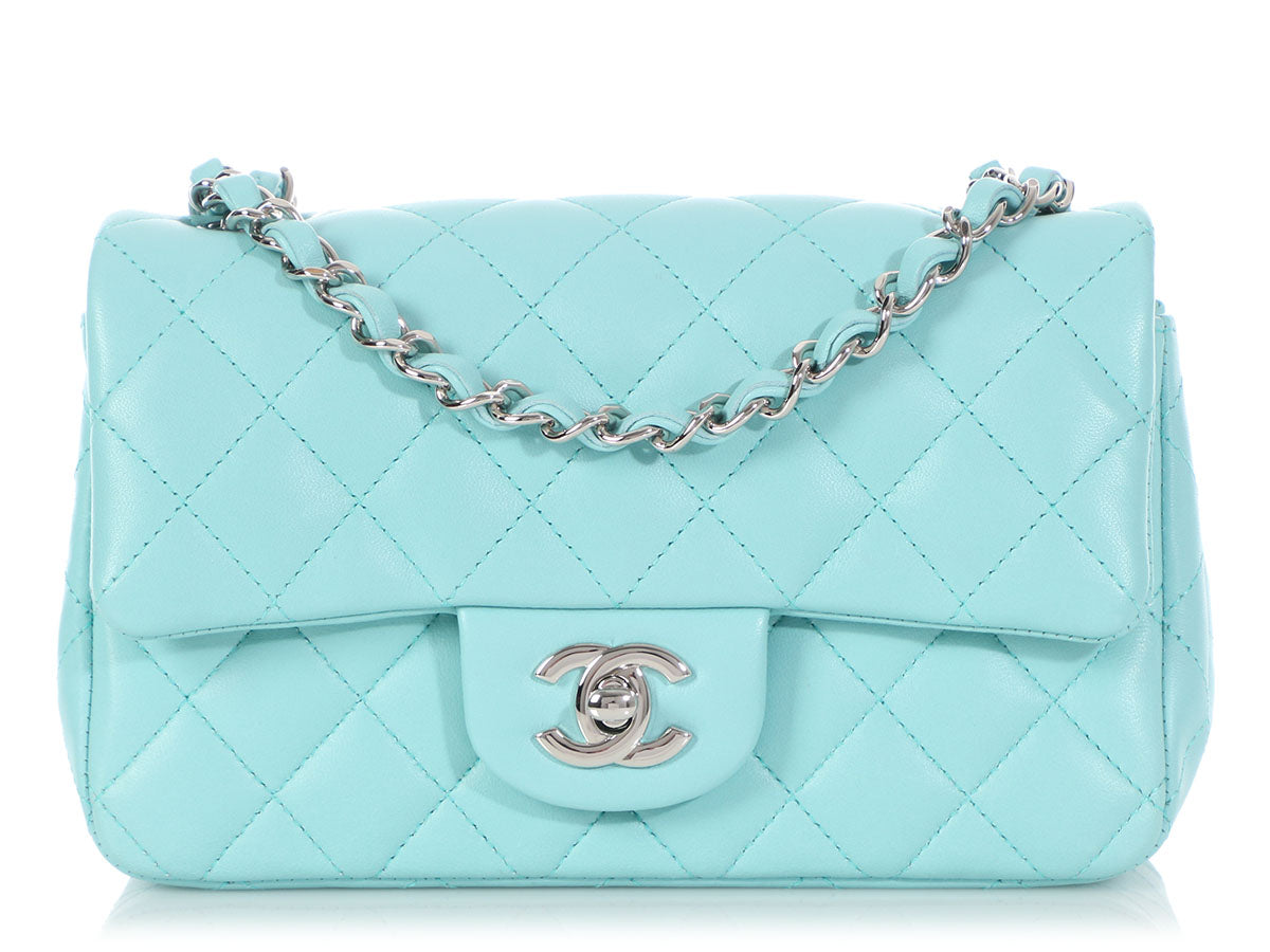 Chanel Mini Light Blue Quilted Lambskin Classic