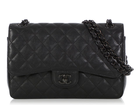 Chanel Jumbo So Black Quilted Calfskin Classic Double Flap