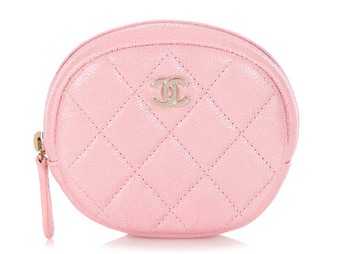 Chanel Small Iridescent Pink Quilted Calfskin O Case