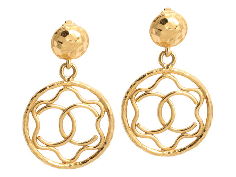 Chanel Vintage Gold-Tone Logo Drop Clip Earrings