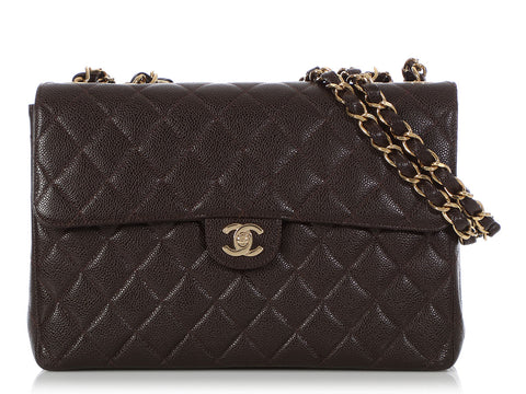 Chanel Vintage Jumbo Brown Quilted Caviar Classic Single Flap