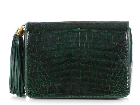 Chanel Small Vintage Green Alligator Flap