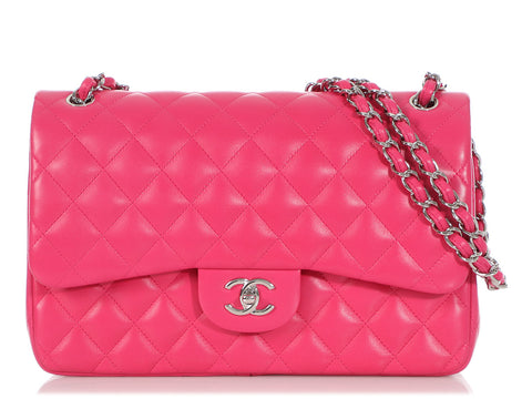 Chanel Jumbo Fuchsia Quilted Lambskin Classic Double Flap