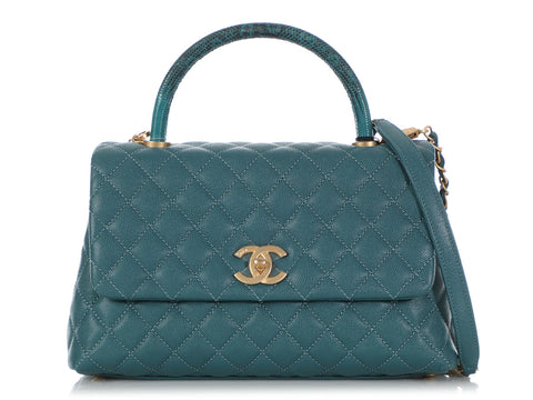 Chanel Small Turquoise Quilted Caviar and Lizard Coco Handle