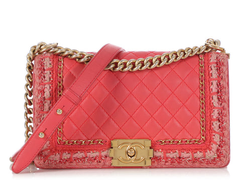 Chanel Small Coral Pink Grosgrain and Lambskin Boy Bag