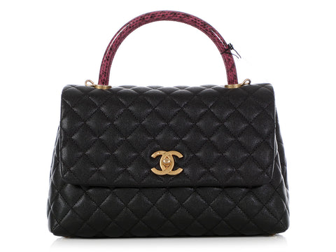 Chanel Small Black Quilted Caviar and Burgundy Lizard Coco Handle