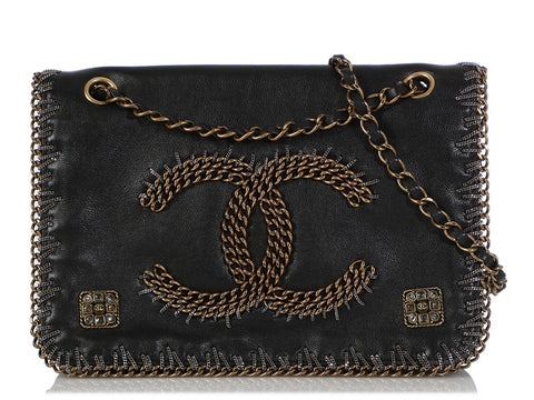 Chanel Black Calfskin Two-Tone Chain Logo Flap