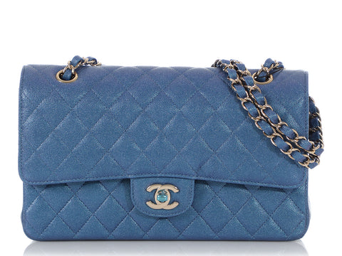 Chanel Medium/Large Iridescent Blue Quilted Caviar Classic Double Flap