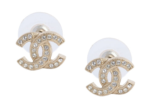 Chanel Gold-Tone Crystal Logo Pierced Earrings