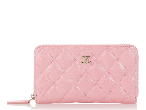 Chanel Medium Iridescent Pink Quilted Caviar Zip Wallet