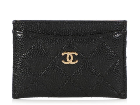 Chanel Black Quilted Caviar Card Holder