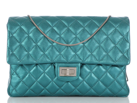 Chanel Metallic Turquoise Quilted Calfskin Reissue Clutch