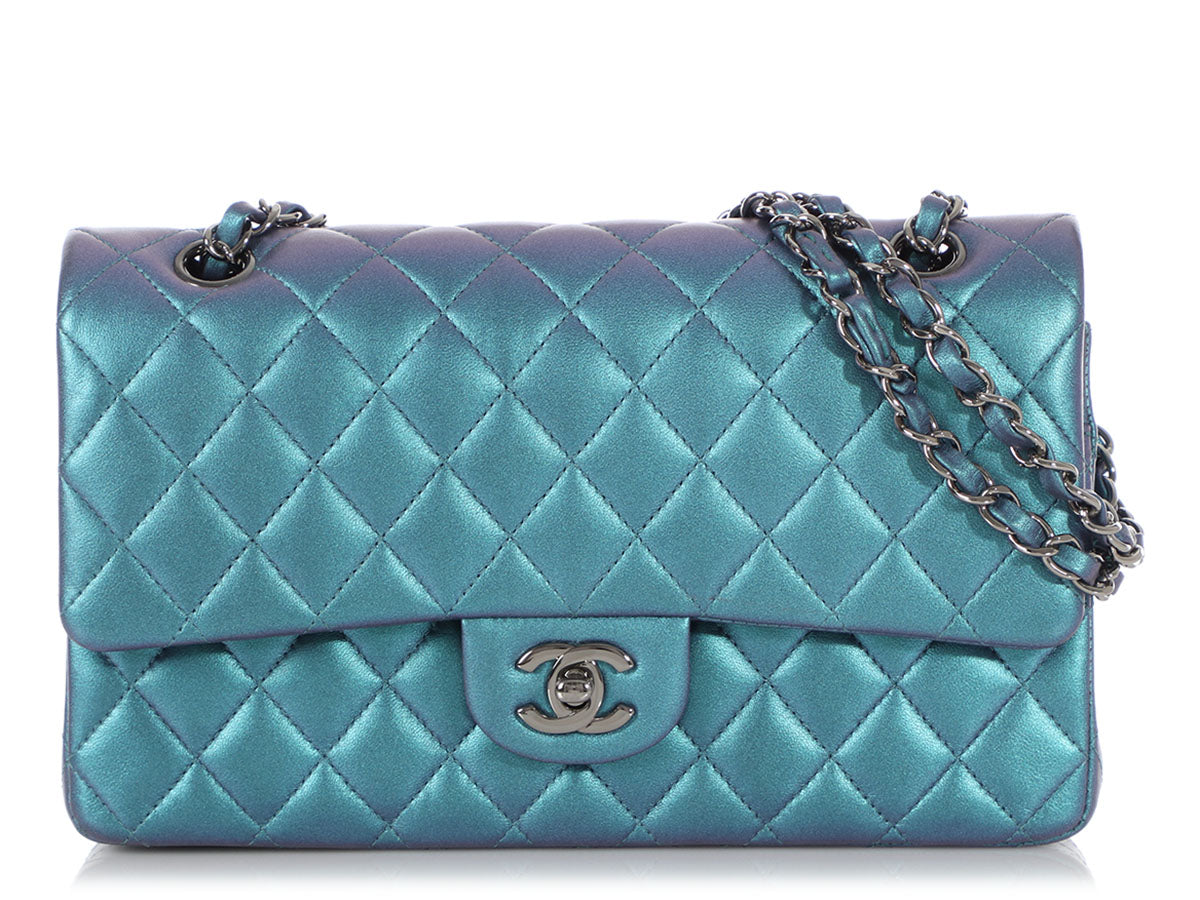 Chanel Medium/Large Iridescent Turquoise Quilted Lambskin Classic Double Flap
