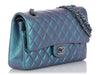 Chanel Medium/Large Iridescent Turquoise Quilted Calfskin Classic Double Flap