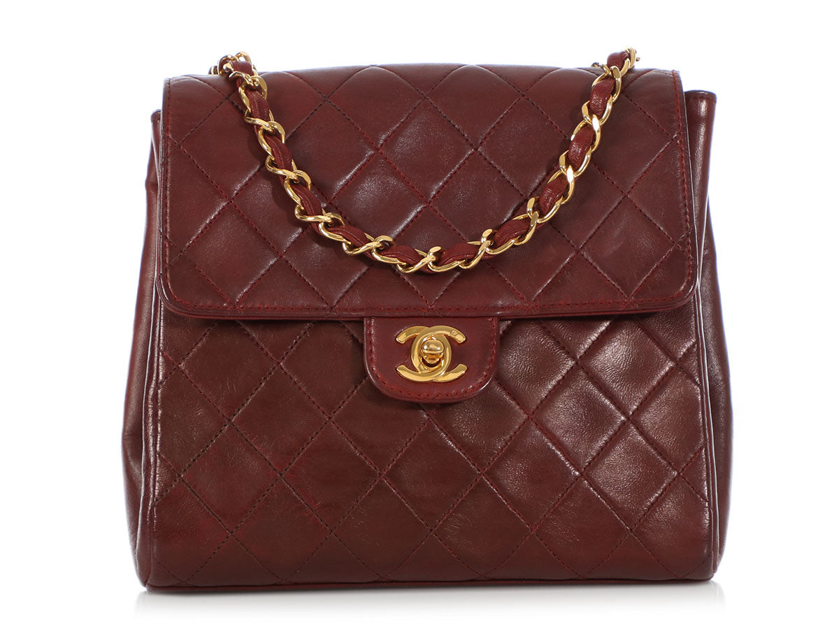 Chanel Small Vintage Burgundy Quilted Lambskin Flap