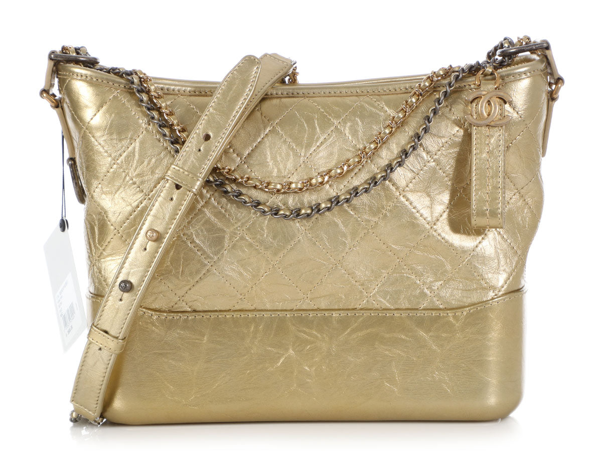 Chanel Medium Gold Part-Quilted Aged Calfskin Gabrielle Hobo