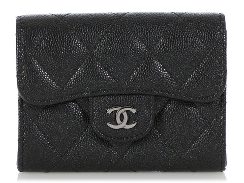 Chanel Iridescent Black Quilted Caviar Card Holder