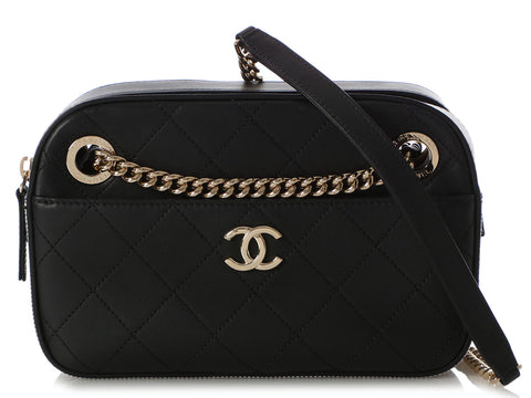 Chanel Small Black Quilted Calfskin and Striped Grosgrain Camera Bag