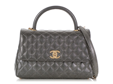 Chanel Small Metallic Silver-Gold Quilted Caviar Coco Handle